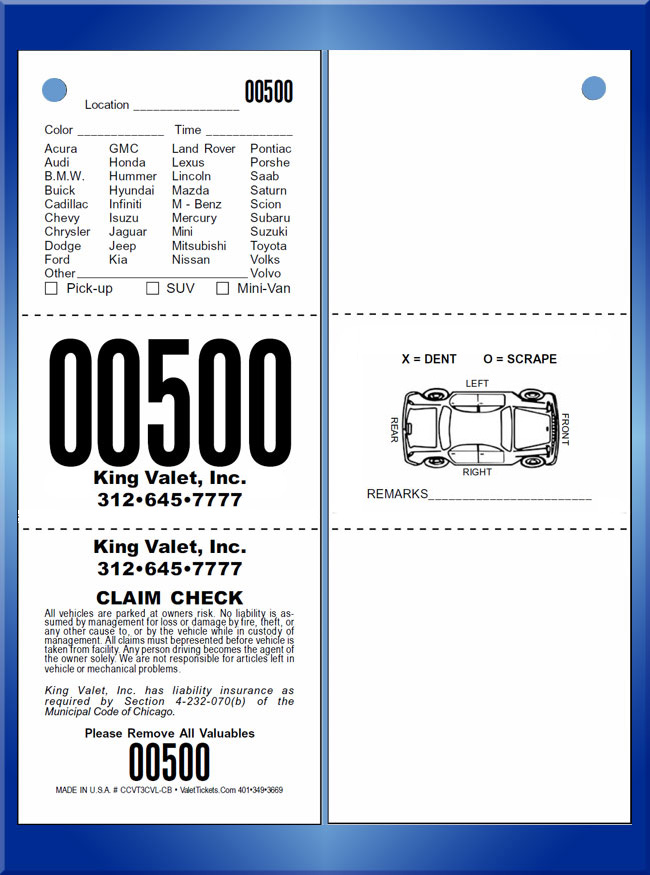 #CCVT3CVL-CB 3 Part Chicago Code Valet Ticket CB