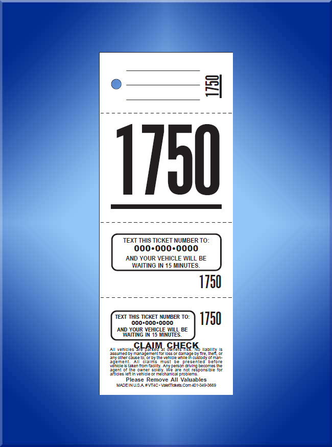 #TVT4C 4 Part PrePrinted Texting Tickets