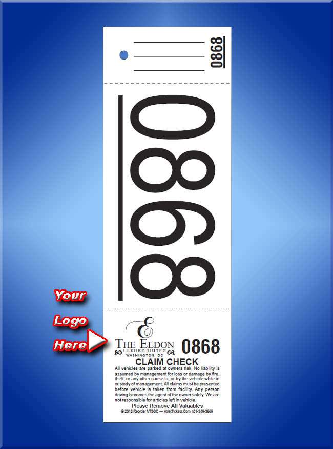 VT3GC - 3 Part Custom Printed Giant Number Tickets - VT3GC