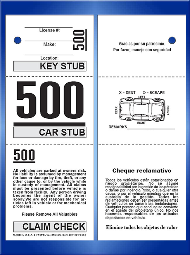 #VT3PBL (3 Part Prestige Bilingual Ticket W/Car Damage Diagram