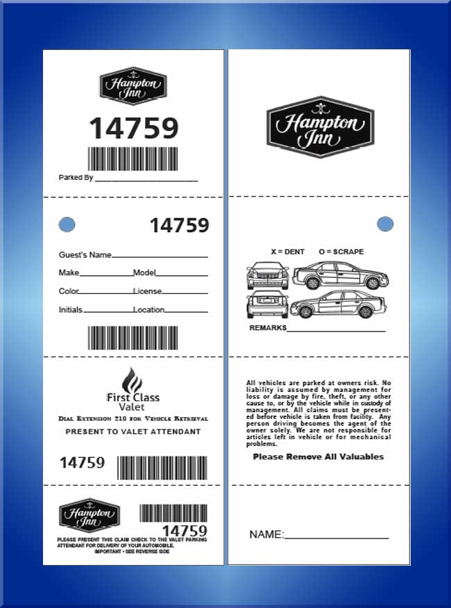 #VT4BCC2 4 Part 2 Sided Bar Code Valet Tickets