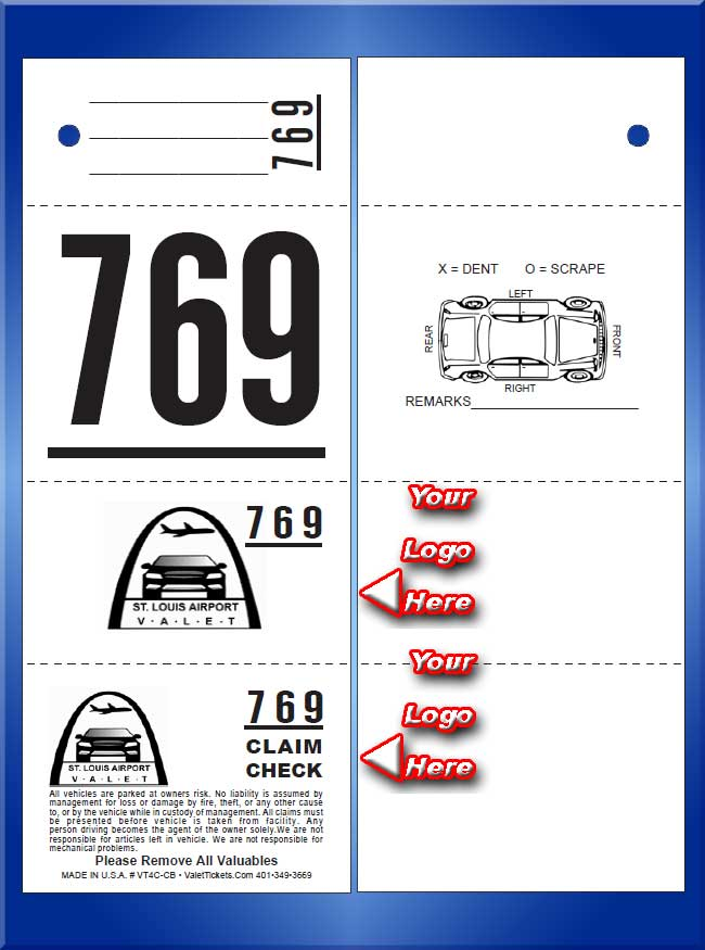 VT4C-CB - 4 Part Custom Printed Tickets with Car Damage D...