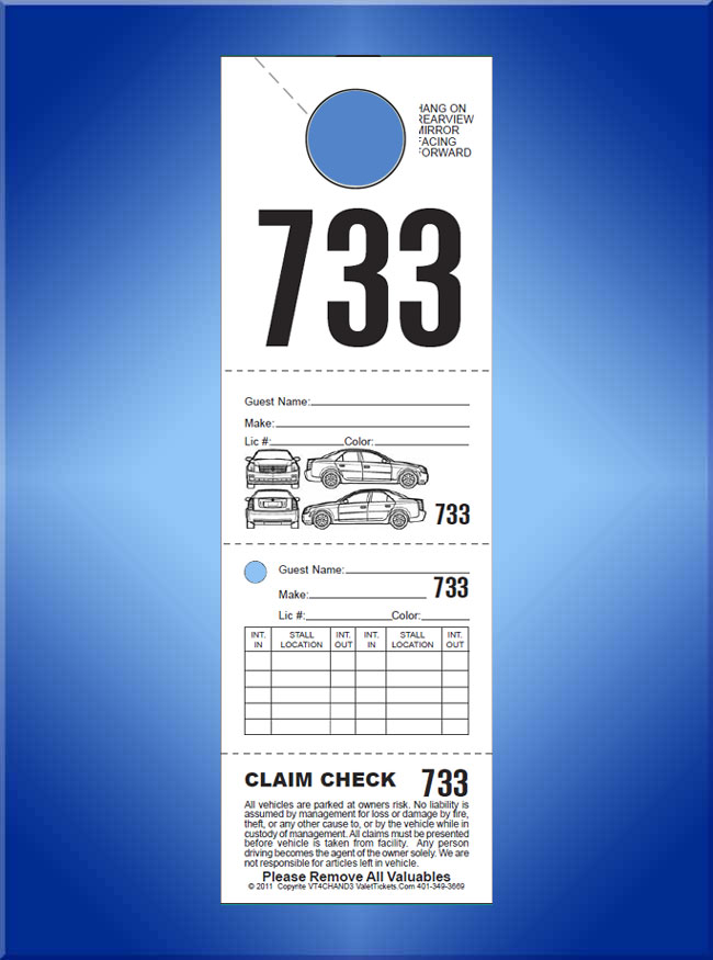 #VT4HAND (4 Part Hanging Valet Ticket with Location Boxes 1,000)