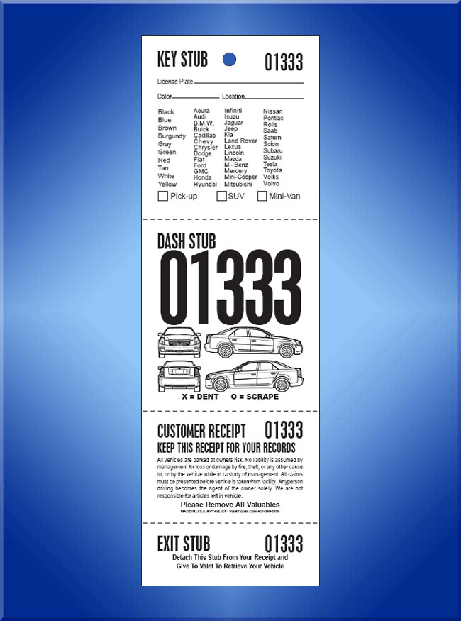 #VT4VL-CF 4 Part Vehicle List Tickets - Car Front 1,000