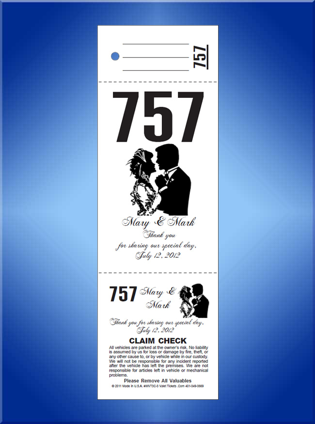 #WVT3-3 3 Part Custom Wedding Valet Tickets