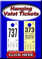 Hanging Valet Parking Tickets