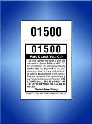 #VT2  2-Part Self Park Valet Ticket 1,000