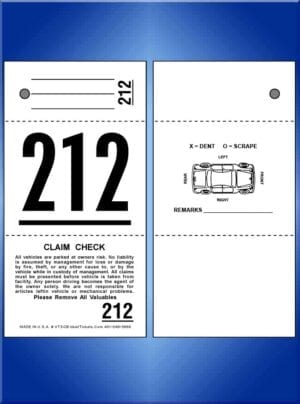 #VT3-CB 3-Part Valet Tickets With Car Diagram Back 1,000
