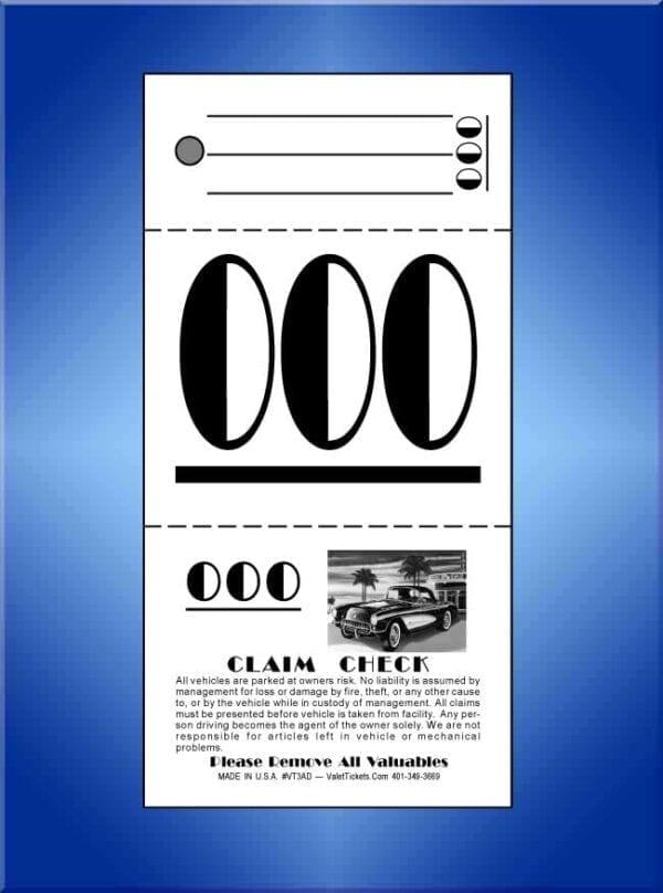 #VT3AD (3 Part Art Deco Valet Tickets 1,000)
