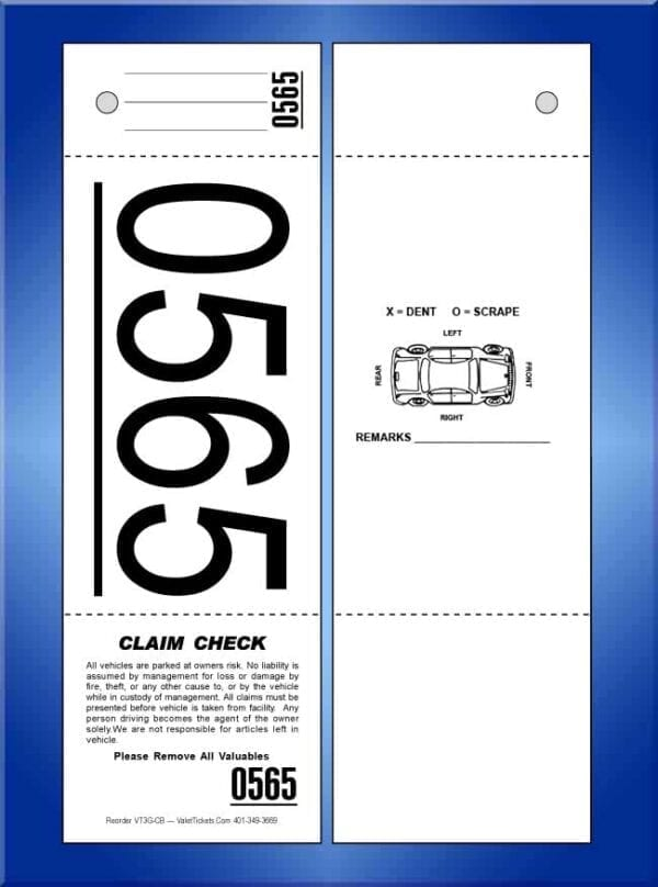 #VT3G-CB (3 Part Giant Number Valet Tickets, W/Car 1,000)