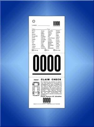 #VT3VL-CF 3-Part Vehicle List Valet Tickets, W/Diagram 1,000