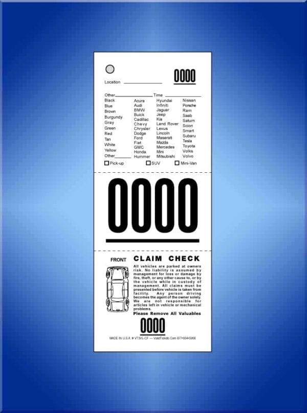 #VT3VL-CF 3-Part Vehicle List Valet Tickets, W/Diagram 1,000
