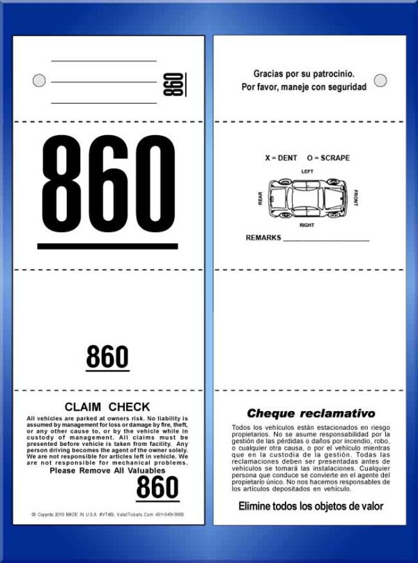 #VT4BL (4 Part Bilingual Tickets with Car Damage Diagram)