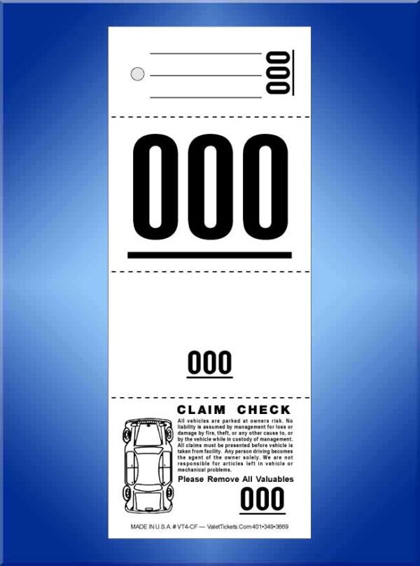 #VT4-CF 4 Part Ticket With Car Damage Diagram on Front 1,000