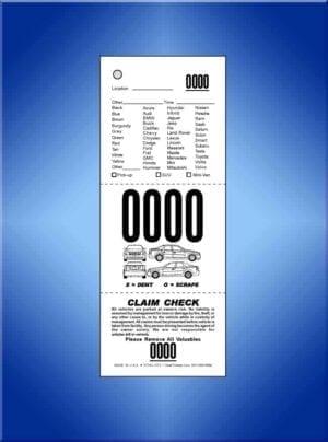 #VT3VL-CF2 3-Part Vehicle List Valet Ticket, Car Diagram 1,000