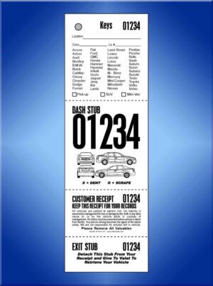 #VT4VL-CF  4 Part Vehicle List Tickets - Car Front 1,000