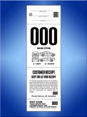 #VT4-CF1  4 Part Valet Tickets W/Car Diagram on Front 1,000