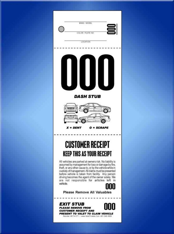 #VT4-CF1  4 Part Valet Tickets W/Car Diagram on Front 1,000