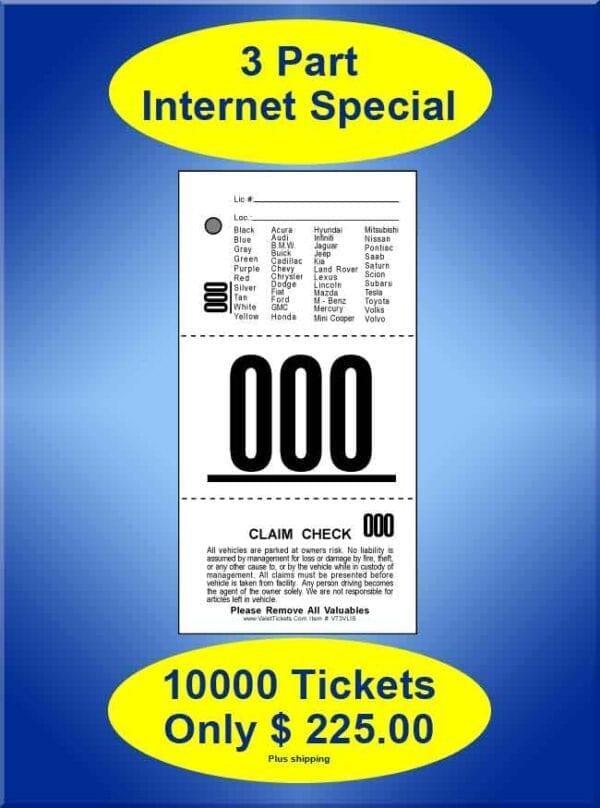 #VT3VLIS 3Part Vehicle List Special 10,000 Valet Tickets