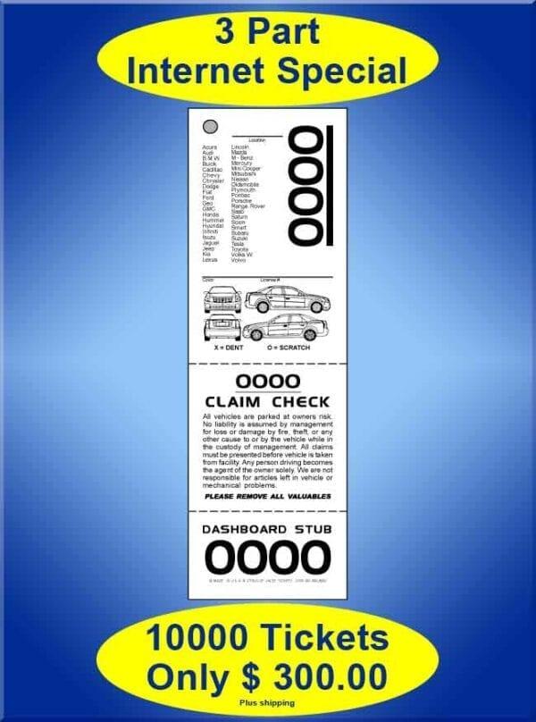 #VT3LIS-CF 3Part XL Internet Special 10,000 Valet Tickets