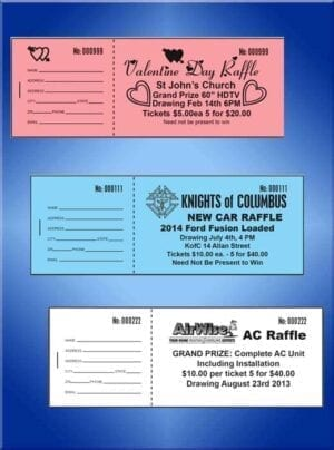 Raffle Tickets Economy Black Ink- We design for you