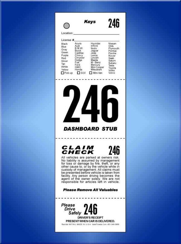 #VT4VL  4 Part Vehicle List Valet Tickets 1,000