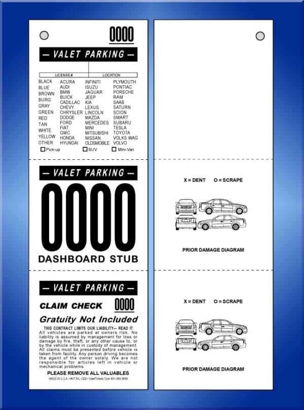 VT3VL-CB2  3 Part Vehicle List Valet Ticket 2 Cars 1,000