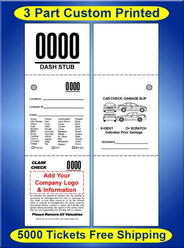 #VTCS3VL-CB 5,000 Custom Printed Tickets FREE Shipping