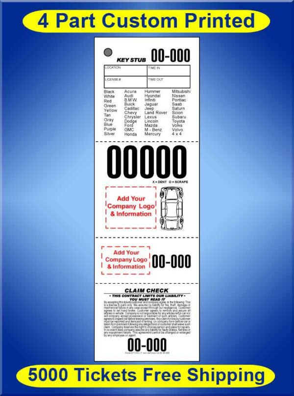 #VTCS4VL-CF 5,000 Custom Printed Tickets FREE Shipping