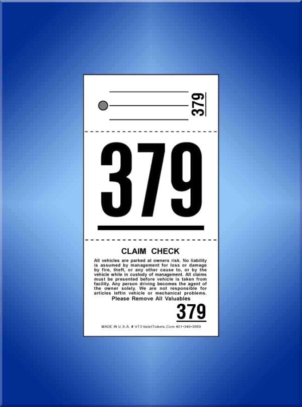 #VT3 Standard 3-Part Valet Ticket 1,000