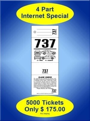 VT4CF-IS 4Part Internet Special 5,000 Valet Tickets