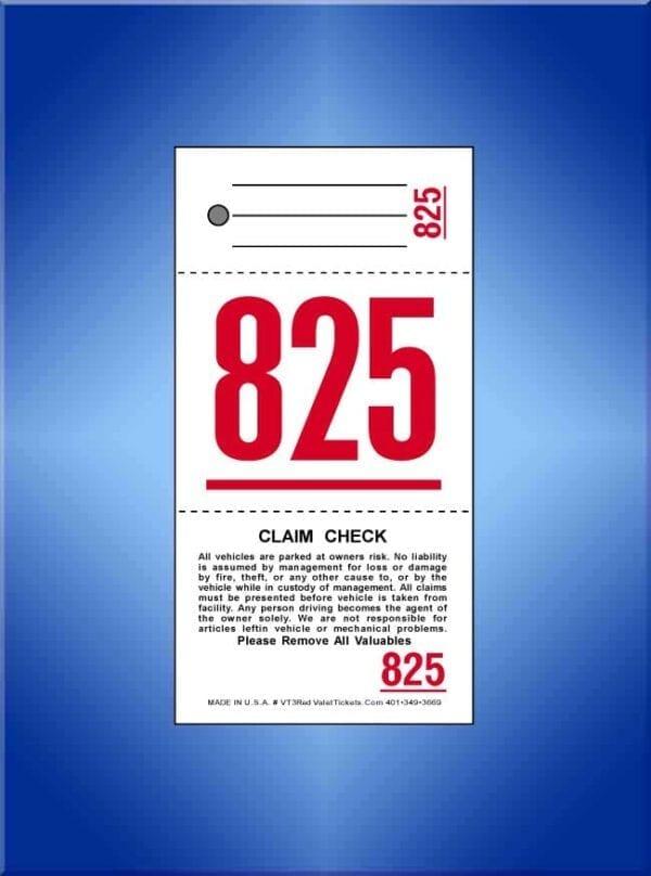 #VT3-RED Standard 3 Part Valet Tickets 1000 per box