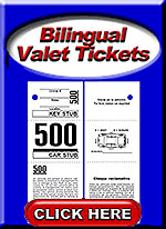 Bilingual Valet Parking Tickets