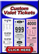 Custom Valet Parking Tickets