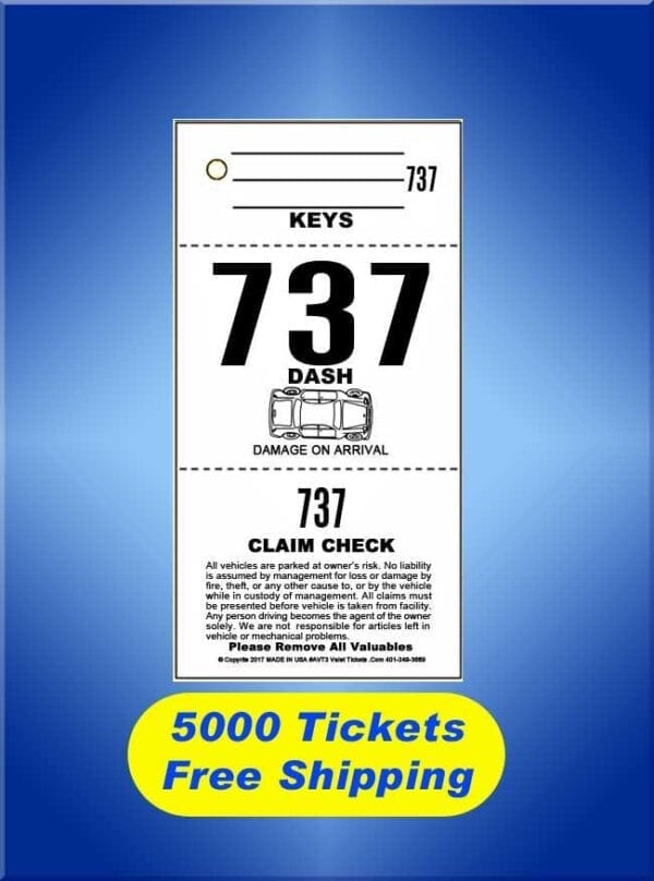 #AVT3-CF 5,000 Tickets FREE Shipping Valet Ticket Special