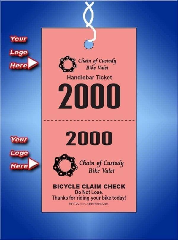 BVT2C  2 Part Custom Bike Valet Tickets
