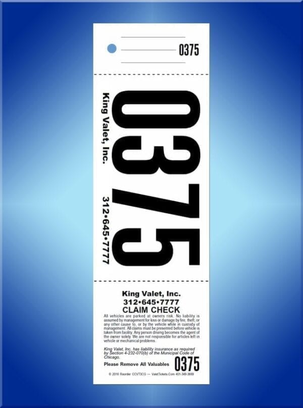 #CCVT3CG         3 Part Chicago Code Giant Number Valet Tickets