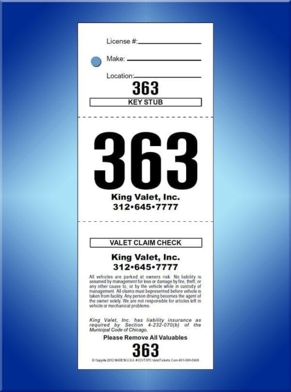 #CCVT3PC             3 Part Prestige Chicago Code Valet Tickets