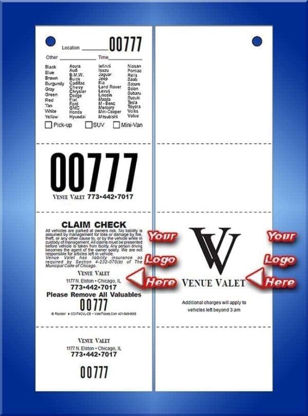 #CCVT4CVL-CB  4 Part Chicago Code Vehicle List Valet Tickets CB
