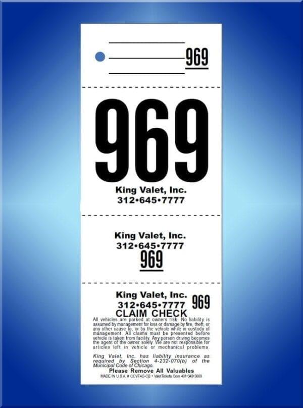 #CCVT4C                        4 Part Chicago Code Valet Ticket
