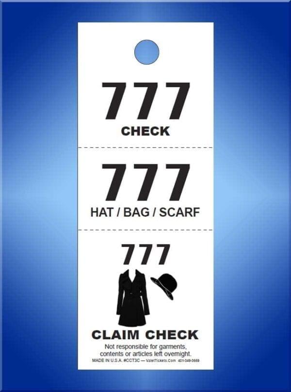 #CCT3A                               1,000 - 3 Part Coat Checks