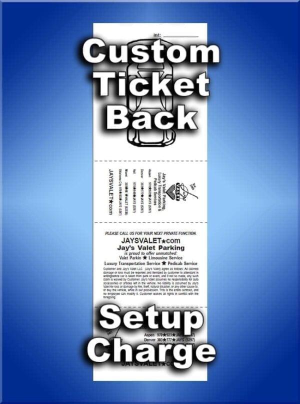 Custom Printed Back of Valet Tickets
