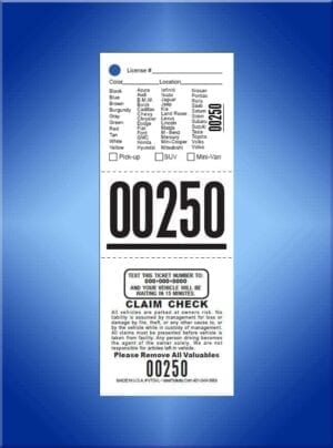 #TVT3CVL    3 Pt. PrePrinted Texting Valet Tickets Vehicle List