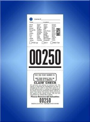 #TVT3VL      3 Part Write In Texting Valet Tickets Vehicle List