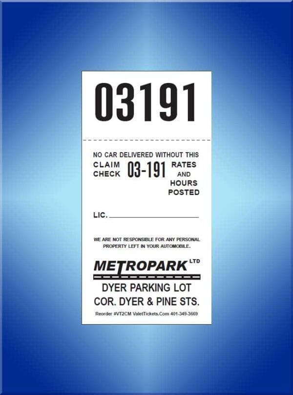 #VT2C (Custom 2 Part Self Park Valet Ticket 1,000)
