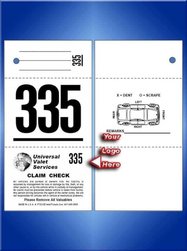 #VT3C-CB 3 Part Custom Tickets - Car Diagram Back 1,000
