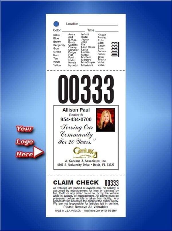 #VT3CCA                       3 Part Custom Advertising Tickets