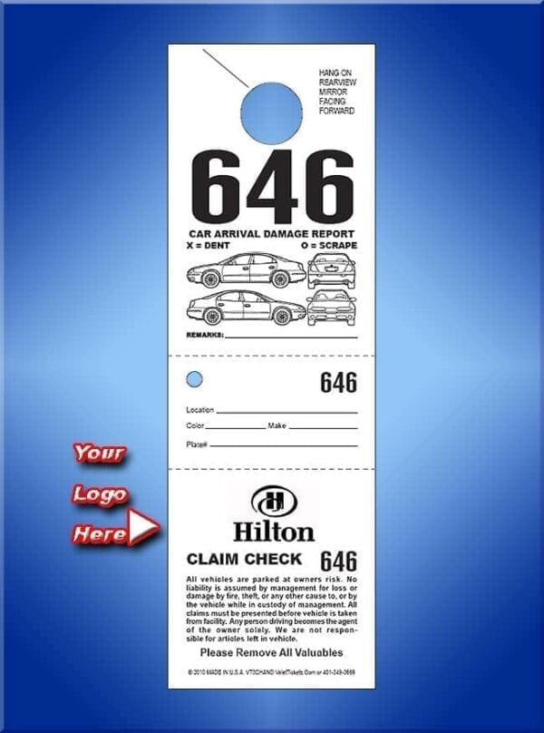 #VT3CHAND  3 Part Custom Hanging Tickets - Car Front 1,000