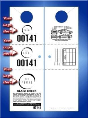 #VT3CHHO2 3 Part Custom 2 sided hanging valet tickets