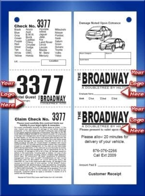 #VT3CHOTEL2     3 Part Custom Hotel Vehicle List Ticket 2 Sided